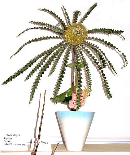 Ikebana featuring a protea