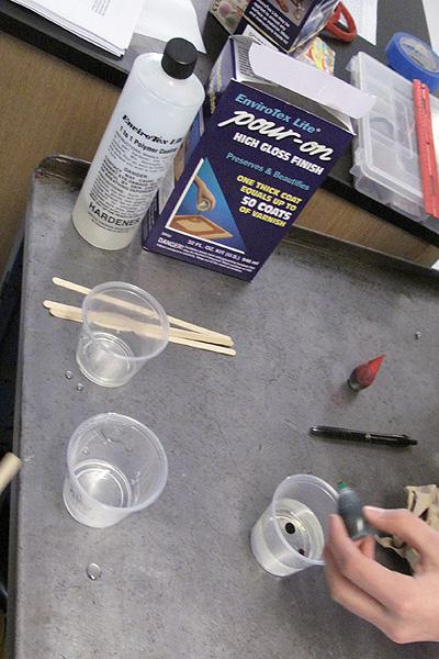 mixing the epoxy