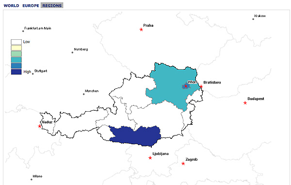 Map of Austria with high incidence of family name