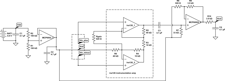 electrocardiogram gas station out pumps page 5 circuit for 2 stage amplification of ekg signal all capacitors are 4 7µf