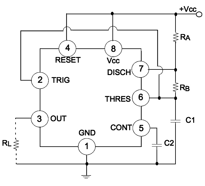 LM555 astable oscillator circuit