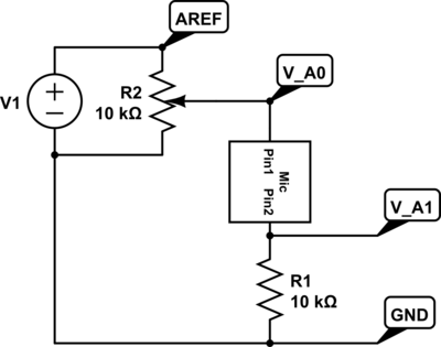 Circuit for measuring DC characteristics of an electret microphone.  The four labeled nodes are connected to the Arduino.