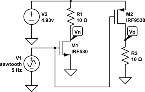 Test circuits for determining thresholds of the FET transistors.