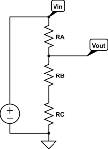 Three-resistor voltage divider for the first question.