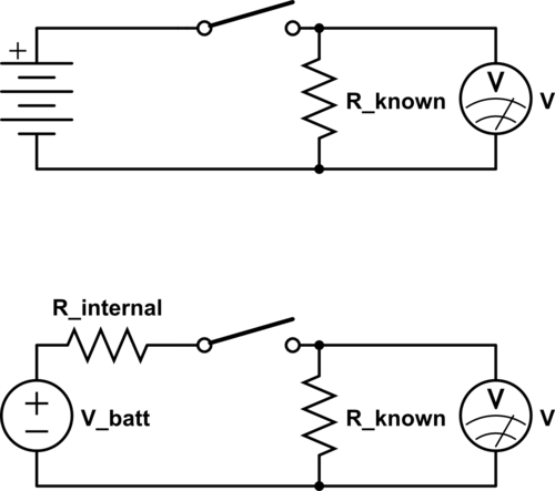 The top circuit shows the setup we used—the bottom shows the equivalent circuit we were modeling.