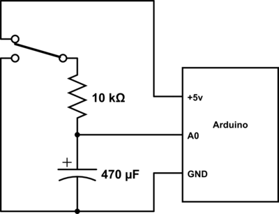 The circuit we used for the discharge of the capacitor.  Our first version used 4.7µF and 1MΩ, but we got some anomalous results and redid it with these values.