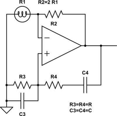The Wien bridge oscillator circuit.  I initially gave it with just a resistor, not a light bulb, for R1, since the analysis is easier that way.  The neat thing about the light bulb is that it provides an automatic gain control to set its resistance to half R2.  The range over which the automatic gain control works is determined by the range of resistance for the bulb filament.  When the bulb is cold, its resistance must be less than R2/2.  When the output is a sine wave with amplitude equal to the power supply, the resistance of the bulb filament must be larger than R2/2.