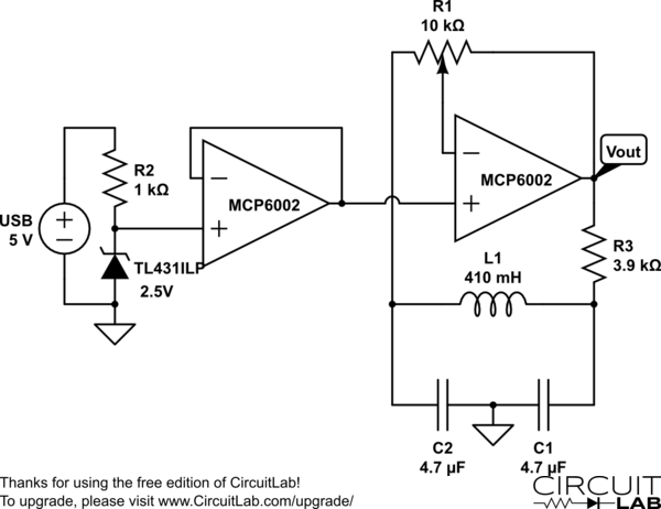 Op-amp-based LC oscillator using the Colpitts oscillator design.