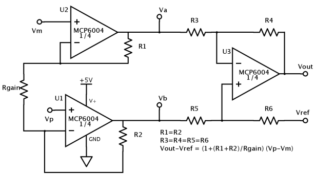 3-op-amp instrumentation amp.  Schematic drawn with SchemeIt (using PNG export, since I have no special characters).