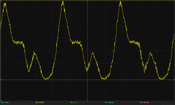 Trace of common mode noise recorded by the BitScope Pocket Analyzer, at 20mV/division.  Sorry about the black background—the manufacturers are promising a white background as an option in some future release of the software.  Maybe they'll add some labels for the x and y tick marks at the same time!