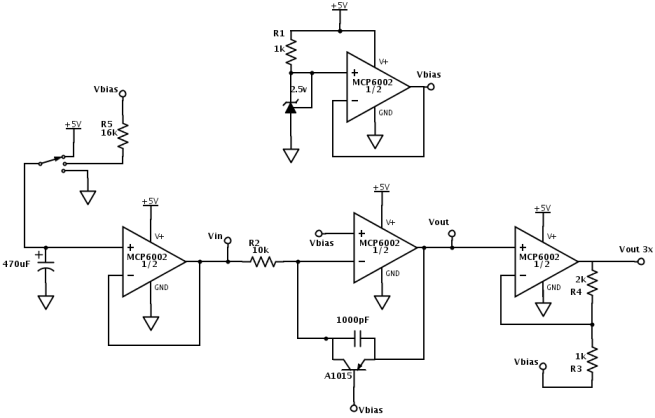 The same circuit can be used for either NPN or PNP transistors.  The only difference is whether the 470µF capacitor starts at 0v (for PNP) or 5v (for NPN) before decaying to Vbias through the 16kΩ resistor.  For many of the tests the current-to-voltage resistor was 1kΩ rather than 10kΩ.