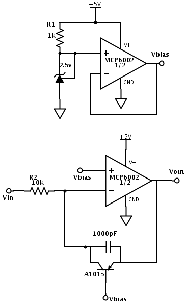 The top circuit is just a bias voltage generator to create a reference voltage from a single supply. I'm working off of 5v USB power, so I set the reference to 2.5v. He might want to use a 1.65v reference, if he is using 3.3v power. The bottom circuit is the log amplifier itself.