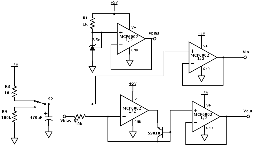 Test circuit for low-speed testing of precision rectifier circuit.