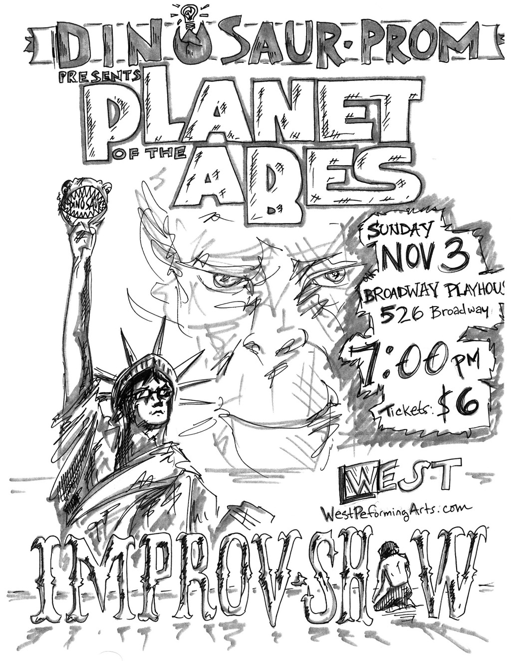 The flyer,  drawn by Hunter Wallraff, for the Dinosaur Prom Improv show.  Because the edge of the drawing was not reproduced on the flyer, I had to try to add it in by hand to get something usable for the titling of the video.  I did not correct the error in the URL for westperformingarts.com