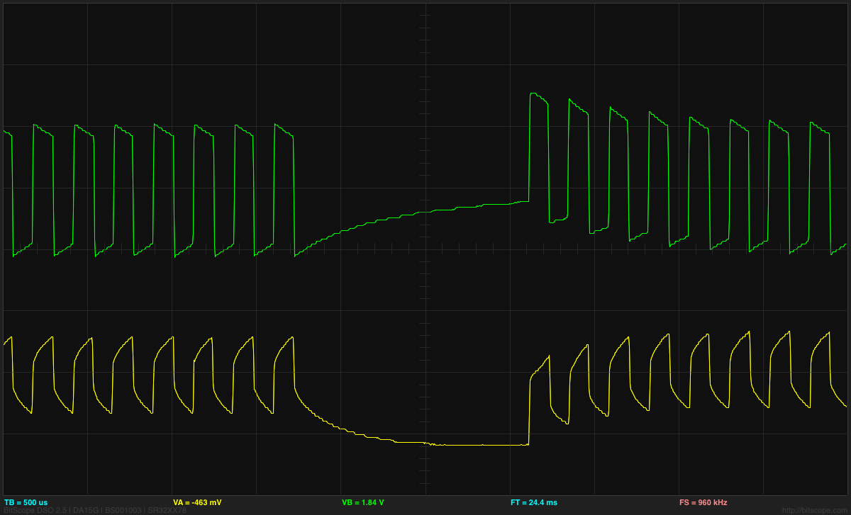 Voltage Divider Gas Station Without Pumps Page 5 Arduino Thermistor Temperature Sensor Circuit The Central Horizontal Line Is 0v For Both Traces Here Green Trace