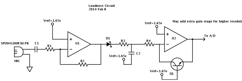 Here is the loudness circuit, before the component values have been determined.