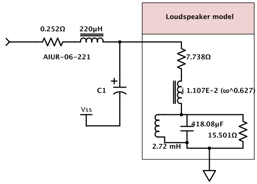 LC filter and loudspeaker model used for sizing the capacitor in the gnuplot script.  The students need to replace the loudspeaker model with the one that they created in an earlier lab.  I think that next year I may use a much simpler loudspeaker model in the script, so that I can tell whether the students have replaced the model or not.