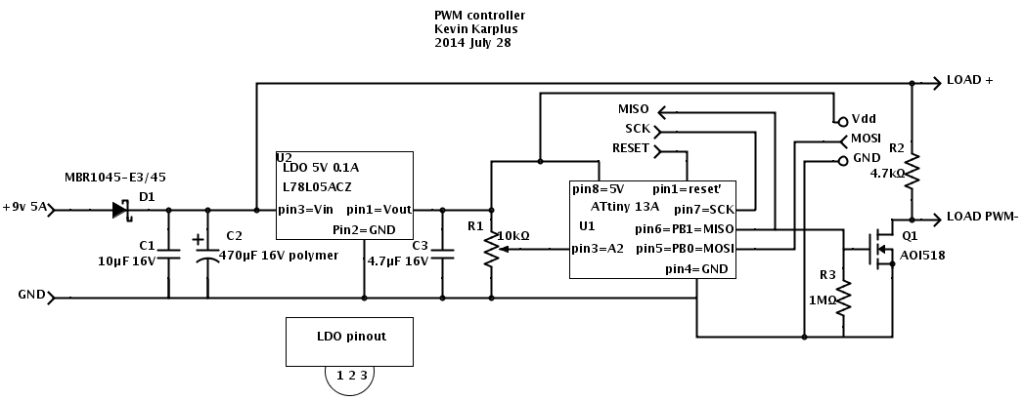 PWM controller using ATtiny 13A