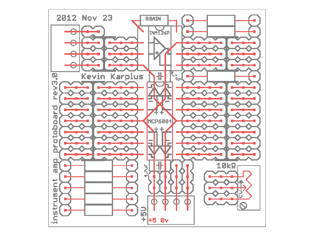 This layout worksheet is distributed to the class as a PDF file.  The students can either mark up the PDF with  PDF editing tools (which some students have done successfully in the past), or draw on it with pencils or colored pencils. Only the holes that wires can be placed in are shown—the holes intended for components are omitted from this worksheet.