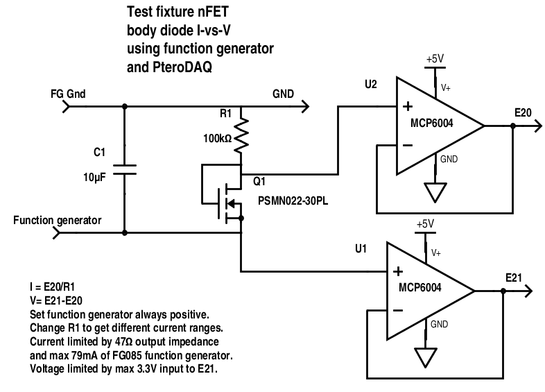 The circuit is essentially the same, but some of the wires are swapped to make measurements all be in 0–3.3V range.