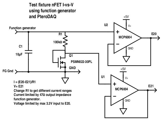 Circuit for measuring I-vs-V characterisitics of nFET.