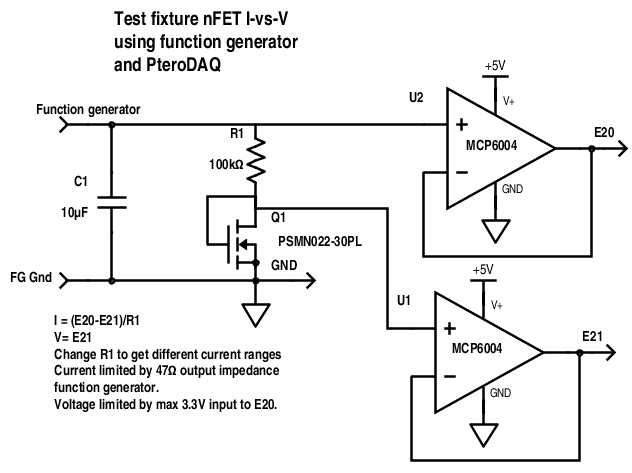 Circuit for measuring I-vs-V characterisitics of nFET.