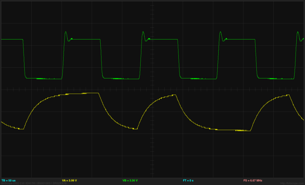 With 1kΩ pull-up and transimpedance resistors and a strong input signal, the ratio of the transition times looks about how I expected with a 1V/div, 50µs/div trace.