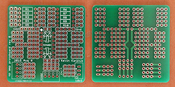 Front and back of op-amp protoboard. This board replaces the instrumentation-amp protoboard used in previous years. Students will solder two boards: a microphone preamp and an EKG.