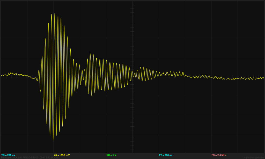 The Maxbotix pulse is at 42kHz as claimed, but the envelope is rather complicated.