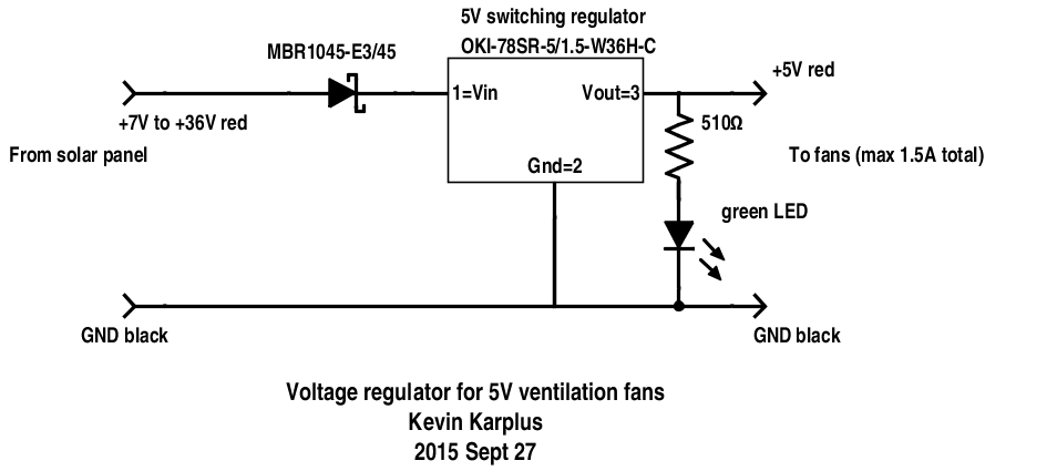 The circuit is the same as before, with the addition of a green LED to light up when there is power.