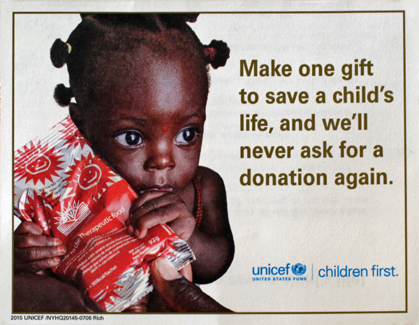 I've not donated to UNICEF for decades, I think, but the idea of buying yourself off a donor mailing list is appealing (the first time—if other charities start doing it, it'll be recycle-unopened status for them).