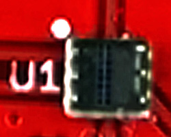 Zooming in on the color sensor itself. Note that this is a leadless chip carrier package, not a ball-grid array package.