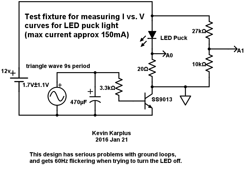 The first circuit I tried was not successful—the LED puck would not turn all the way off! I looked at the waveforms for the voltage and for the current with PteroDAQ, and determined that there was 60Hz pulsing when the LED was supposed to be off. I think that I had a ground loop problem among the three power supplies that was amplified by the bipolar transistor.