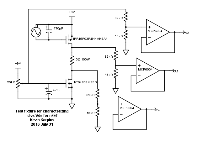 The function generator provided the pFET Vgs with a triangle wave from -1V to -4.2V, which was chosen empirically to get the full range of current possible in the 10Ω resistor. The period was 8s, and the electrolytic capacitor was to smooth out the bumps from the discretization of the 8-bit DAC.
