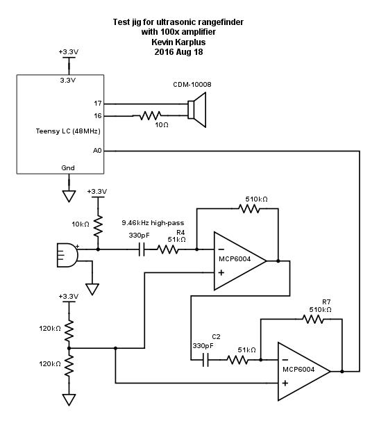 Here is the schematic for my test fixture. I looked at the microphone and speaker signals with both my Bitscope oscilloscope and at the microphone signals with the Teensy ADC.