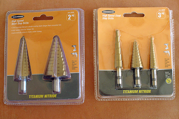 These five bits normally cost about $34 from Harbor Freight, but I paid $24 on sale. The bit I used is the rightmost one, which provides 13 different hole sizes up to½ inch. Other bits in the set let me drill thicker material or go up to 1-⅜ inch.