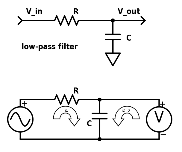 The upper schematic shows the normal way to represent the low-pass filter. The lower schematic shows it with a voltage source and a voltmeter, with two loops (one of which has no current).