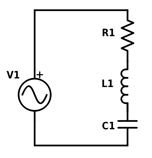 Simple RLC series circuit with a voltage source.