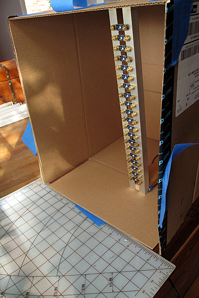First, I found a cardboard box large enough to hold the LED stroboscope that I had made for the mini Maker Faire.